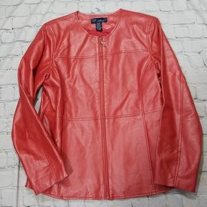 Susan Graver red pearlize faux leather jacket